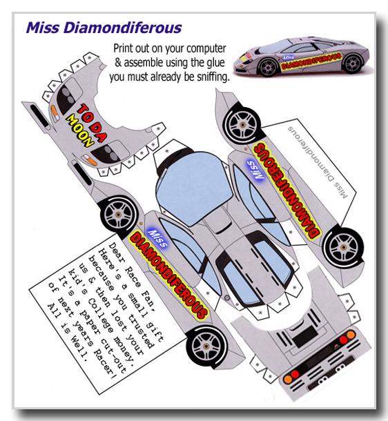 Paulie S Pixel Palace Miss Diamondiferous Race Car Cut Out